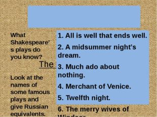 The most popular plays 1. All is well that ends well. 2. A midsummer night's