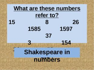 What are these numbers refer to? 15 8 26 1585 1597 37 3 154 23 52 1564 Shakes