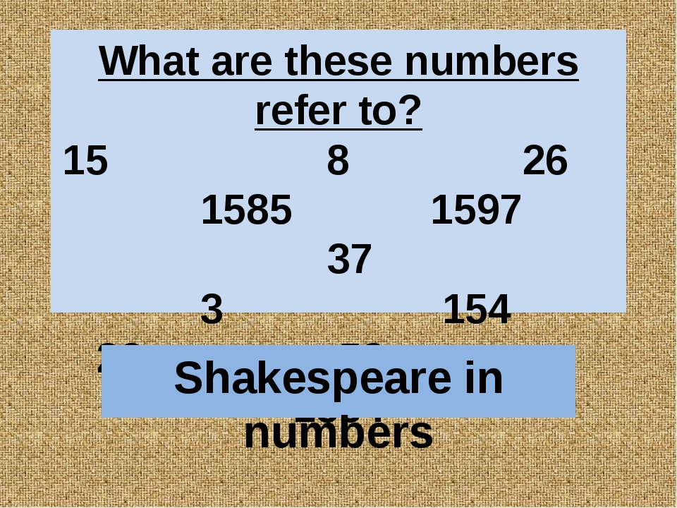 What are these numbers refer to? 15 8 26 1585 1597 37 3 154 23 52 1564 Shakes...
