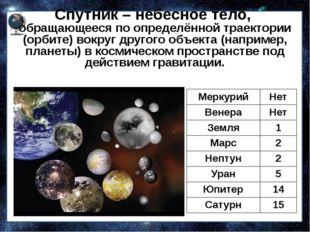 Спутник – небесное тело, обращающееся по определённой траектории (орбите) вок