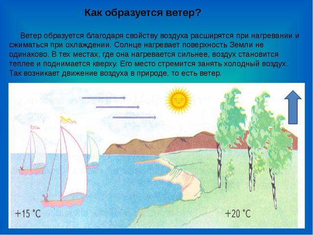 Ветер образуется благодаря свойству воздуха расширятся при нагревании и сжим...