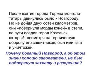 После взятия города Торжка монголо-татары двинулись было к Новгороду. Но не