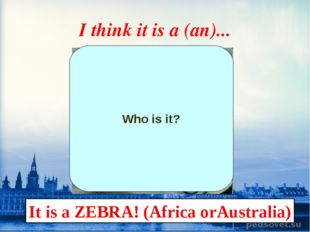 I think it is a (an)... Who is it? It is a ZEBRA! (Africa orAustralia)