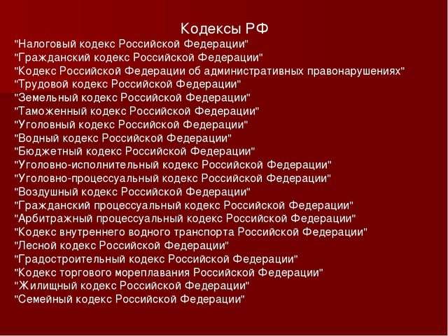 """Кодексы РФ """"Налоговый кодекс Российской Федерации"""" """"Гражданский кодекс Россий..."""