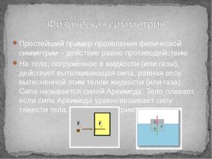 Простейший пример проявления физической симметрии – действие равно противоде