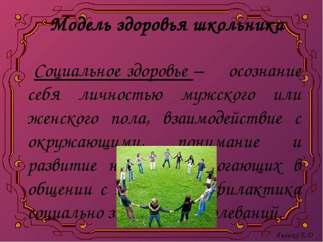 Модель здоровья школьника Социальное здоровье – осознание себя личностью мужс...