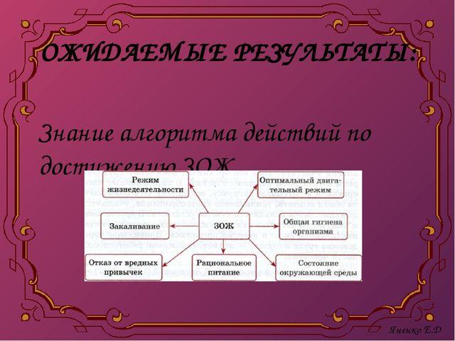 ОЖИДАЕМЫЕ РЕЗУЛЬТАТЫ: Знание алгоритма действий по достижению ЗОЖ. Яненко Е.Д