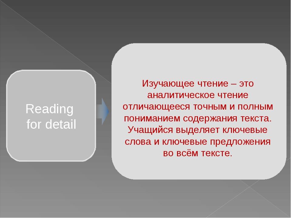 Изучающее чтение – это аналитическое чтение отличающееся точным и полным пони...