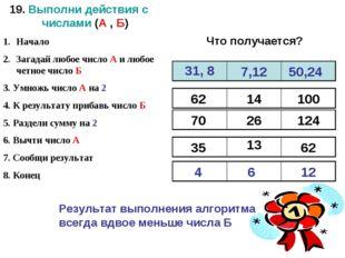 19. Выполни действия с числами (А , Б) Начало Загадай любое число А и любое ч