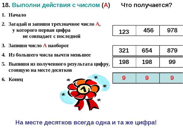 18. Выполни действия с числом (А) Начало Загадай и запиши трехзначное число А...