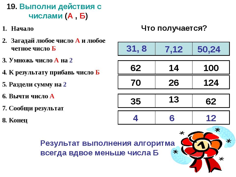 19. Выполни действия с числами (А , Б) Начало Загадай любое число А и любое ч...