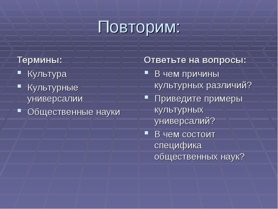 Повторим: Термины: Культура Культурные универсалии Общественные науки Ответьт...
