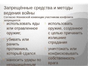 Запрещённые средства и методы ведения войны Согласно Женевской конвенции учас