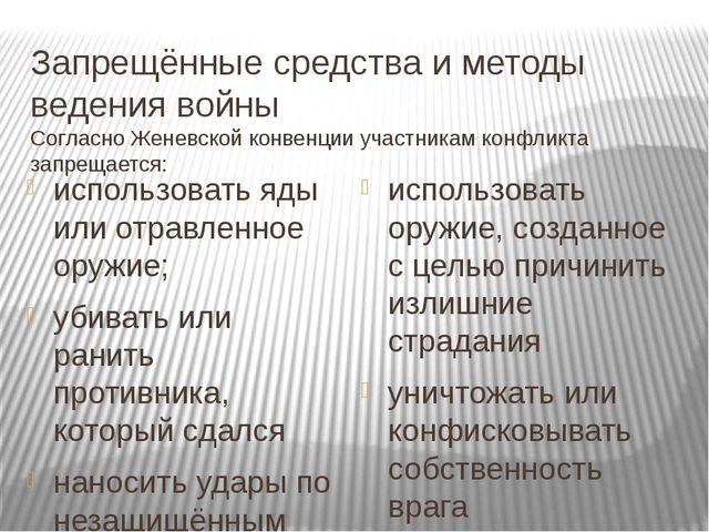 Запрещённые средства и методы ведения войны Согласно Женевской конвенции учас...