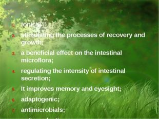 tonics; stimulating the processes of recovery and growth; a beneficial effect