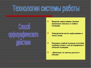 Видение орфограммы (знание признаков сильных и слабых позиций) Определение м