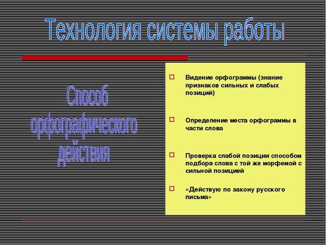 Видение орфограммы (знание признаков сильных и слабых позиций) Определение м...