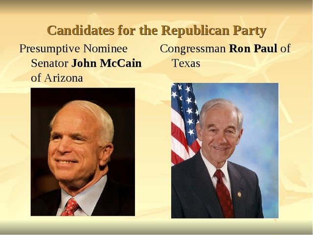 Candidates for the Republican Party Presumptive Nominee Senator John McCain o...