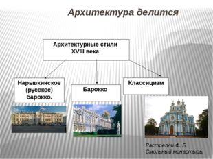 Архитектура делится Нарьшкинское (русское) барокко. Классицизм Архитектурные