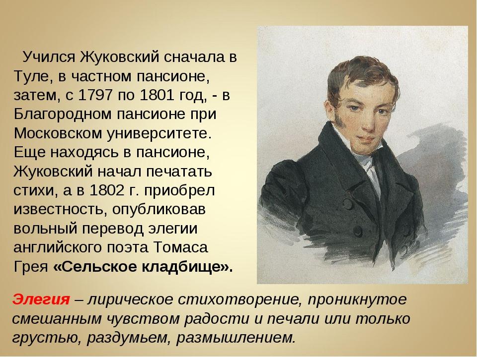 Учился Жуковский сначала в Туле, в частном пансионе, затем, с 1797 по 1801 г...