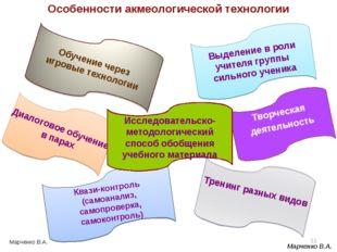 Особенности акмеологической технологии * Квази-контроль (самоанализ, самопров