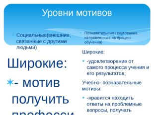 Уровни мотивов Социальные(внешние, связанные с другими людьми) Широкие: - мот