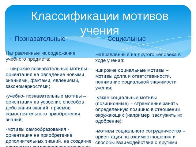 Классификации мотивов учения Познавательные Направленные на содержание учебно...