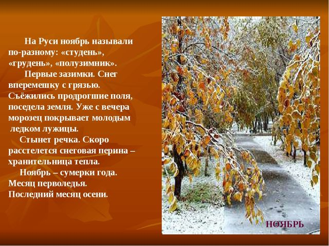 На Руси ноябрь называли по-разному: «студень», «грудень», «полузимник». Перв...