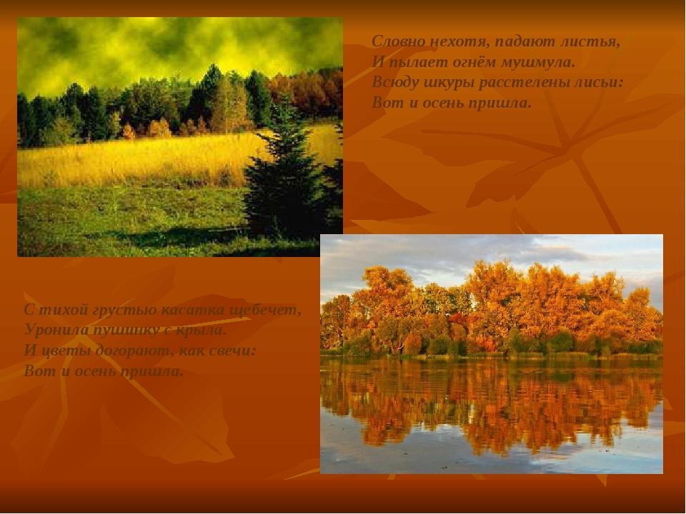 Словно нехотя, падают листья, И пылает огнём мушмула. Всюду шкуры расстелены...