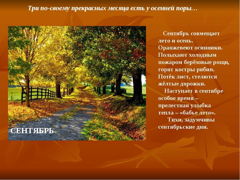 Три по-своему прекрасных месяца есть у осенней поры… СЕНТЯБРЬ Сентябрь совме...