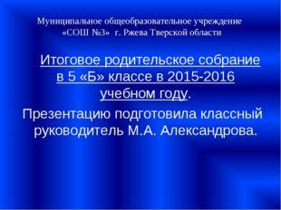 Муниципальное общеобразовательное учреждение «СОШ №3» г. Ржева Тверской облас