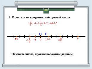Отметьте на координатной прямой числа: Назовите числа, противоположные данным