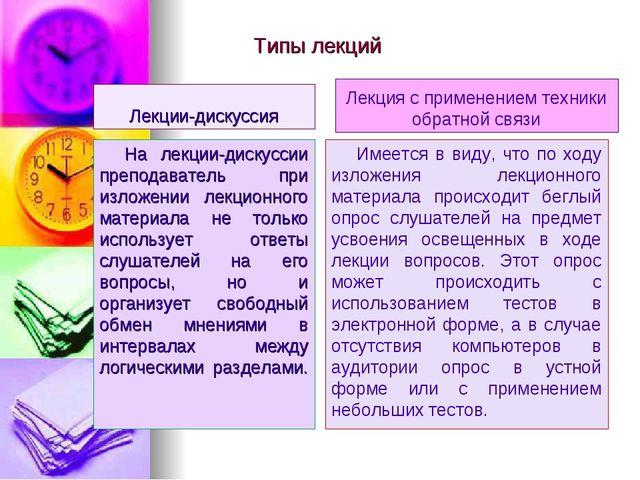 Типы лекций Лекции-дискуссия На лекции-дискуссии преподаватель при изложении...