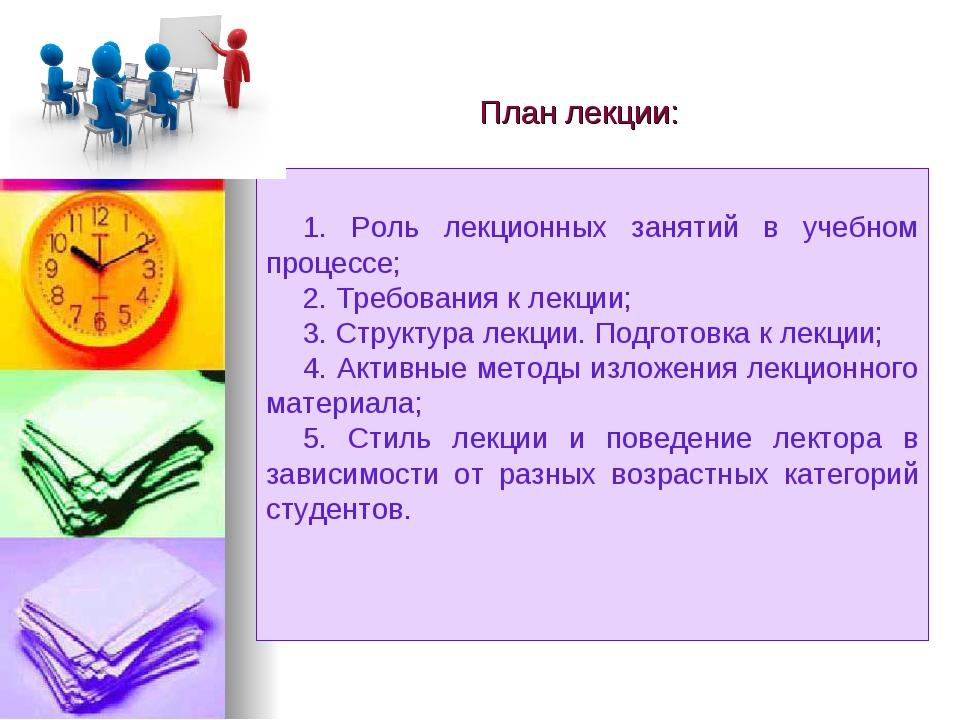 План лекции: 1. Роль лекционных занятий в учебном процессе; 2. Требования к...