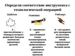 Определи соответствие инструмента с технологической операцией Шаблон В – инст
