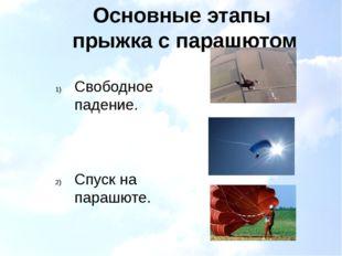 Основные этапы прыжка с парашютом Свободное падение. Спуск на парашюте. Призе