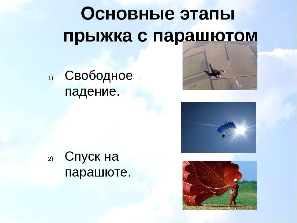 Основные этапы прыжка с парашютом Свободное падение. Спуск на парашюте. Призе...