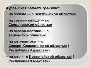 Курганская область граничит: на западе — с Челябинской областью на северо-за