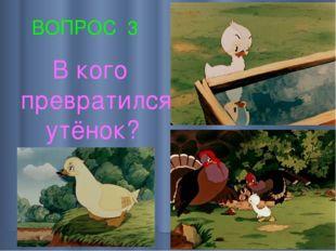 ВОПРОС 3 В кого превратился утёнок?