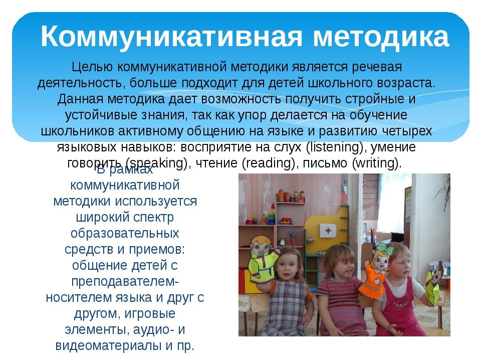 В рамках коммуникативной методики используется широкий спектр образовательных...