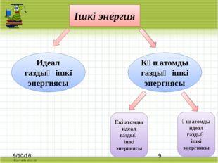 Ішкі энергия Көп атомды газдың ішкі энергиясы Идеал газдың ішкі энергиясы Ек
