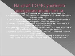 На штаб ГО ЧС учебного заведения возлагается: > организация и обеспечение неп