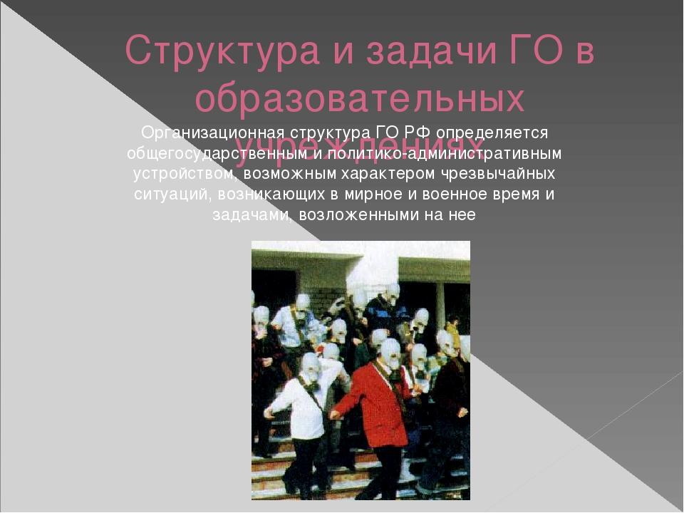 Структура и задачи ГО в образовательных учреждениях Организационная структура...
