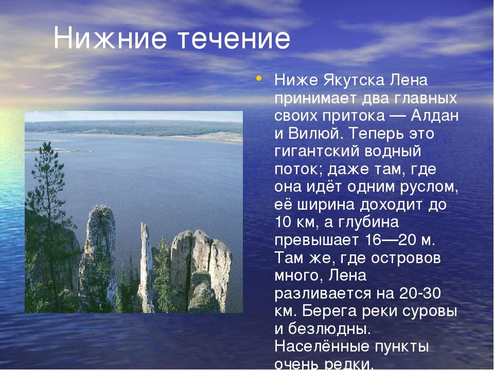 Нижние течение Ниже Якутска Лена принимает два главных своих притока — Алдан...