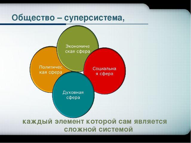 Общество – суперсистема, каждый элемент которой сам является сложной системой