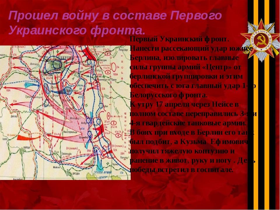 Прошел войну в составе Первого Украинского фронта. Первый Украинский фронт. Н...