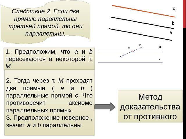 Следствие 2. Если две прямые параллельны третьей прямой, то они параллельны....