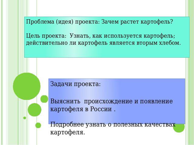Проблема (идея) проекта: Зачем растет картофель?  Цель проекта: Узнать, как...