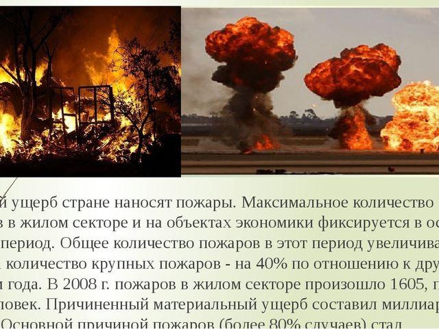 Большой ущерб стране наносят пожары. Максимальное количество пожаров в жилом...