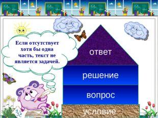 условие вопрос ответ решение В задаче всегда должны быть составные части: Есл